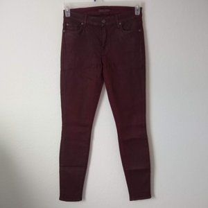 7FAM Maroon Coated Faux Leather Skinny Jeans